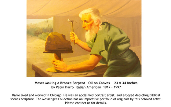 Moses Making a Bronze Serpent by Peter Darro - for sale